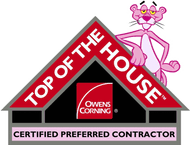 Owens Corning Top of the House certified logo with Pink Panther character leaning against a black house with red roof and Owens Corning logo inside the house